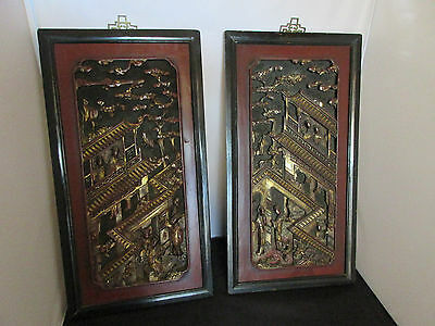 Antique Chinese Pair of Red Lacquered & Gilt Carved Wood Panels framed