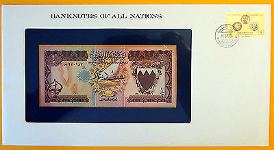 Bahrain - 1973 - 1/2 Dinar Uncirculated Banknote enclosed in stamped envelope.