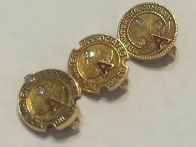 Flying A, Tidewater Oil Service Pins 10, 20 & 30 years, 14kt Gold w/ Diamonds