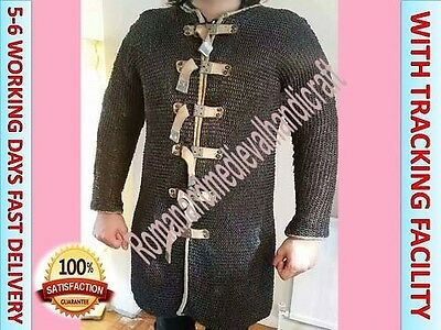 9 mm Flat riveted Rings chainmail armour/Medieval Large size Hauberk Black