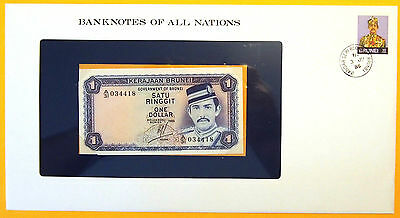 Brunei - 1985 - 1 Ringgit - Uncirculated Banknote enclosed in stamped envelope.