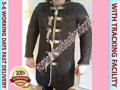 chain mail armour/Medieval xL size Hauberk Black 9 mm Flat riveted Rings