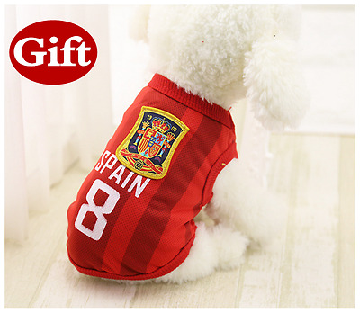 World Cup Football Clothes Dog Vest Small Pet Puppy Cat Apparel Dark Red 8# S