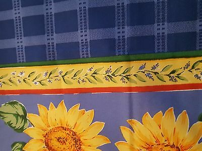 """French style floral and border blue print mix tablecloth 60"""" x 102"""" vintage NWOP"""