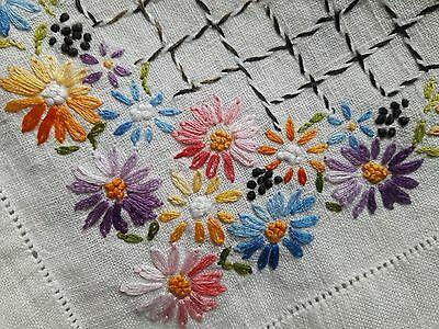 """Vintage Ivory Linen Embroidered Floral Tablecloth 47"""" Square Lovely!"""