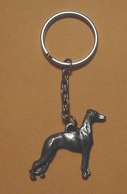 WHIPPET  DOG PEWTER  KEY CHAIN ..   FREE SHIPPING in USA