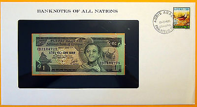 Ethiopia 1976 - 1 Birr - Uncirculated Banknote enclosed in stamped envelope.