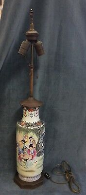 Antique Chinese Porcelain Vase Converted To Lamp (Signed)