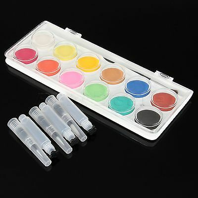 2 in 1 Set 1 Box 12 Colours Solid Cakes Watercolor & 3pcs Water Brush Ink Pens