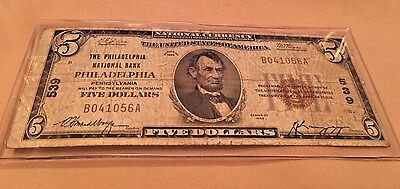 1929 $5 National Currency PHILADELPHIA PA #539 Small Note Type 1