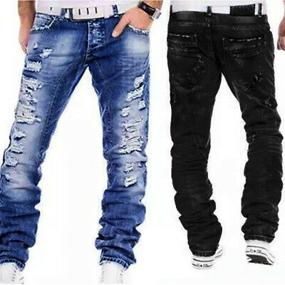 NEW Designer RIPPED JEANS MEN'S DENIM PANTS CASUAL Distressed HOT MAN Jeans