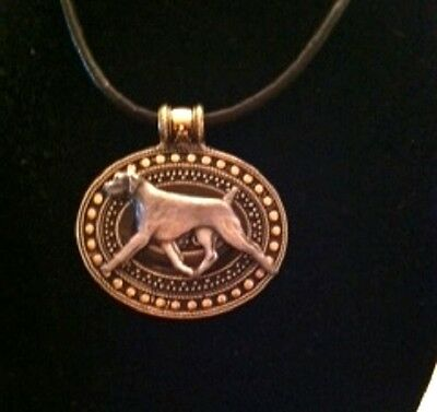 German Shorthaired Pointer Dog Brass Medallion on leather cord~necklace~GSH