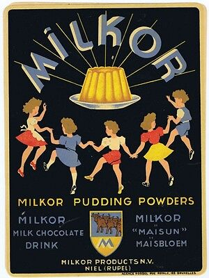 Milk pudding powder ad window decal children dancing Milkor Products
