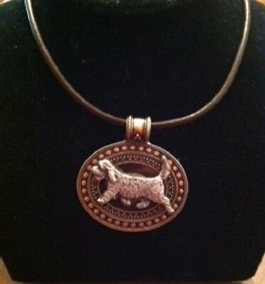 PBGV Dog Brass Medallion on leather cord~necklace~2 tone!  petit Basset  Vendeen