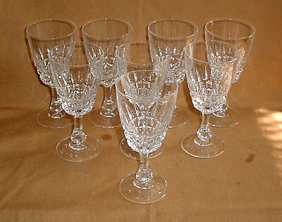 "Cristal D'Arques Durand Pompadour Lead Crystal Wine Stems Goblets 6"" Lot of 8"