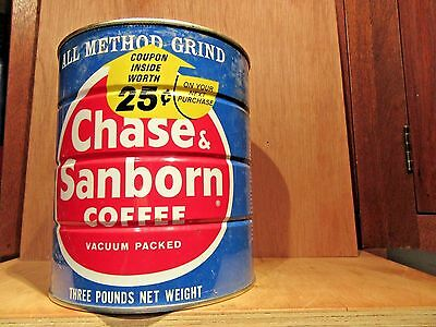 Vintage 3 Pound Chase And Sanborn Coffee Can Tin