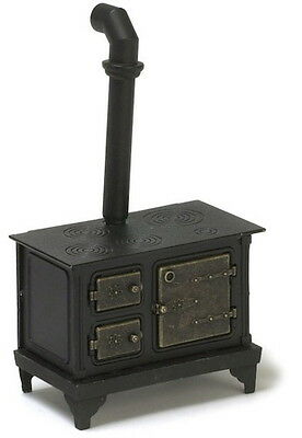 Metal Stove With Brass Effect Doors, Dolls House Miniature, Cooking Stove