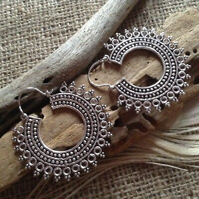 Antique White Brass Large Gypsy Hoop Earrings 47mm Silver Plated Boho Tribal UK