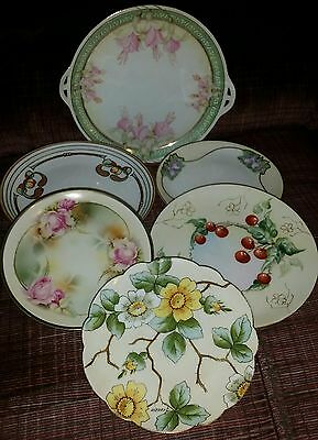 6 Antique Hand Painted Bavarian Cabinet Display Plates