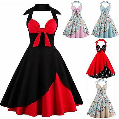 UK Women's Vintage Halter Style 1950s 60s Rockabilly Evening Prom Swing Dress