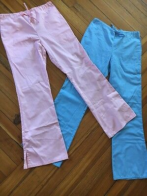 Lot Of 2 Pink Blue Cherokee Scrubs Flare Leg Pants Bottoms Size XS Excellent!