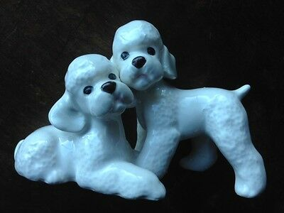 Vintage Pair of White Poodle Dogs