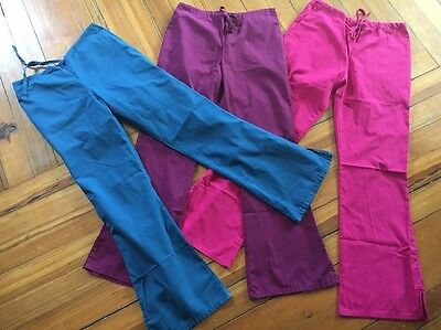 Lot Of 3 Cherokee Scrubs Flare Leg Pants Bottoms Size XS Excellent!