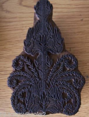 Antique Wooden Printing Block Hand Carved Textiles Paper SURFACE DESIGN Vintage