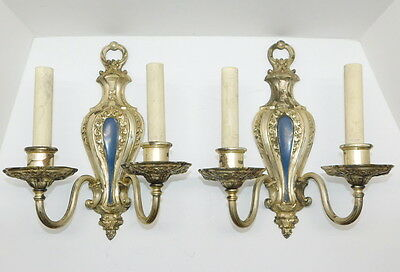 Pair Antique Victorian 2 Arm Wall Sconce Silver Over Bronze Electric Lights