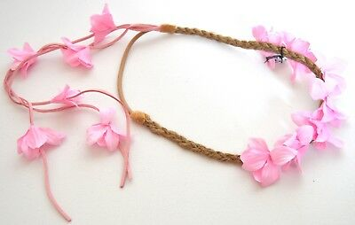 NEW Pink fabric flower garland with suede tassles browband headband festivals