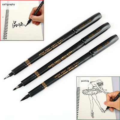 Pack of 3pcs chinese calligraphy brush pen black pen s m l Easy calligraphy pen