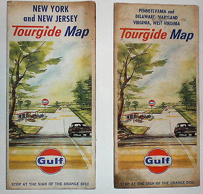 Gulf Tourglide NY and NJ; PA, Delaware, Maryland VA, W. Virginia 1968 road maps