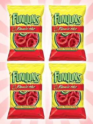 x4 Funyuns Flamin' Hot Onion Flavored Rings American Rare Fresh Chips 2.5 OZ