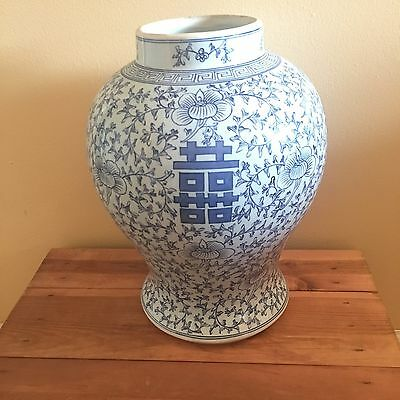 "Vintage Blue and White Ceramic Japanese Vase H 13"" Hand Painted Signed"