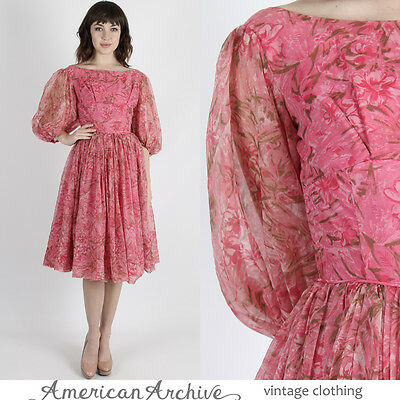 Vintage 50s Pink Chiffon Dress Wedding Cocktail Party Floral Full Skirt Mini M
