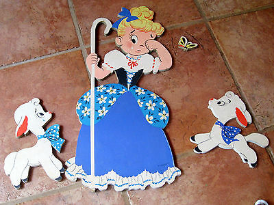 1950s Dolly Toy Co Mother Goose Pin Ups 229 4 Pieces Little Bo Peep complete