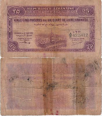 Lebanon,25 Piastres Banknote 1.4.1942 Choice Very Good Condition Cat#36-2412