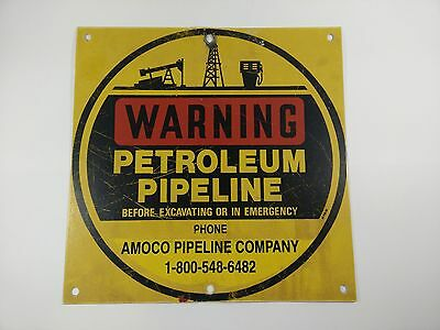 "Vintage Amoco Pipeline Company Warning Sign Painted Steel 12"" x 12"""