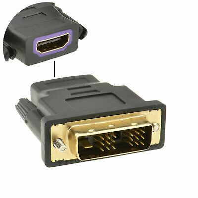 HDMI Socket to a 18+1 DVI-D Male Plug Converter Adapter Gold [001629]