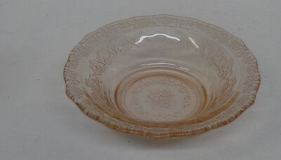 """Federal Glass Normandie Pink Bouquet and Lattice 5"""" Berry Bowl"""