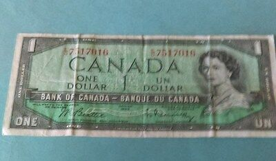 Bank of Canada 1954 $1 One Dollar Canadian