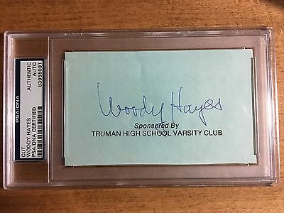 Woody Hayes Signed Cut Card Ohio State Football Coach Autograph PSA/DNA