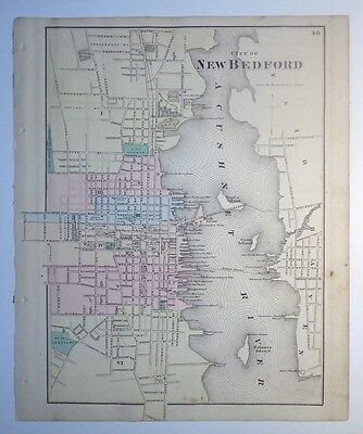 ORIGINAL F.W. BEERS ATLAS - MAP c1871: NEW BEDFORD, MASS & VICINITY, BRISTOL CO