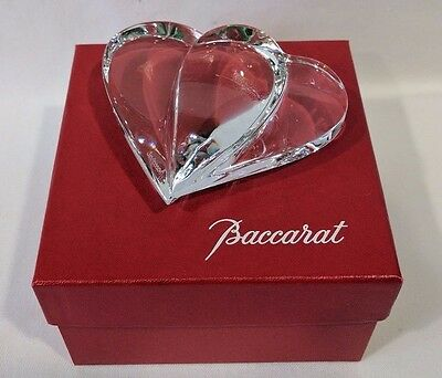 "Baccarat Crystal Signed Double Heart Paperweight 3.5""x4"" Excellent Valentine"