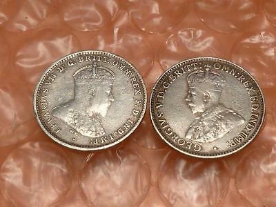 Australia Three Pence 1910, 1928 Silver Coins 2 Total