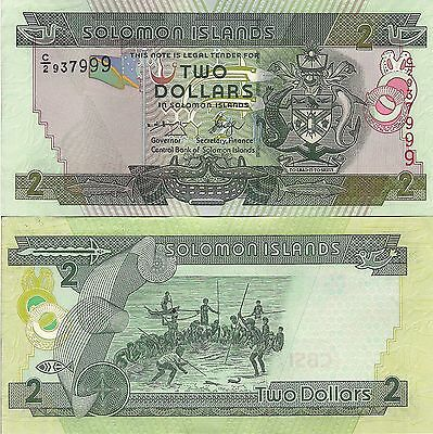 Soloman Islands P25, $2  arms / fishermen at sea  UNC, 2006 see UV & W/M