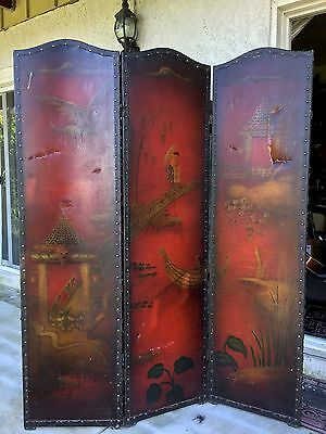 Antique Japanese Hand Painted 3 Panel Screen