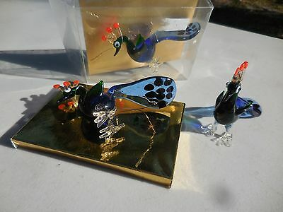 Three (3) Miniature Hand Blown Glass PEACOCK Bird Figurines