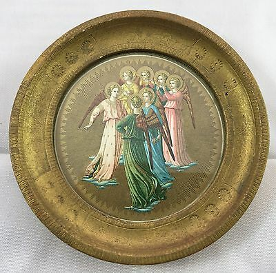 Antique Gold Tole Beardsley Angels Religious Print Small Round Framed Picture