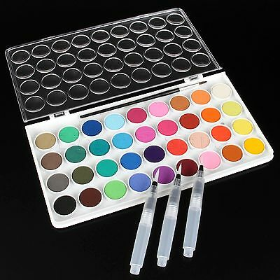 2 in 1 Set 1 Box 36 Colours Solid Cakes Watercolor & 3pcs Water Brush Ink Pens